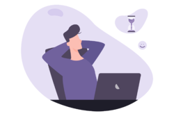 Illustration of business man relaxing as he saves time from digitising his payment process