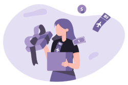 Illustration of woman holding gift box filled with cash and plane tickets