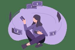 Illustration of woman enjoying flow of cash
