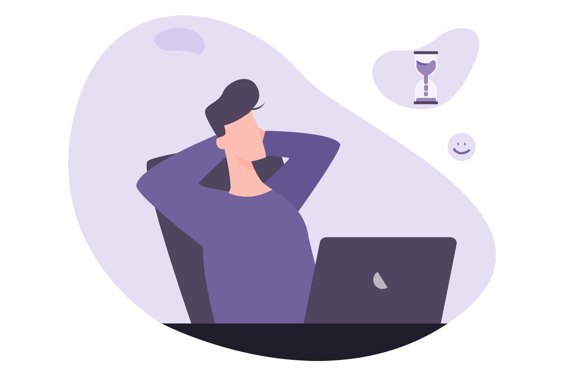 Purple blobbed illustration of man relaxing at work as he saves time through digitising payments