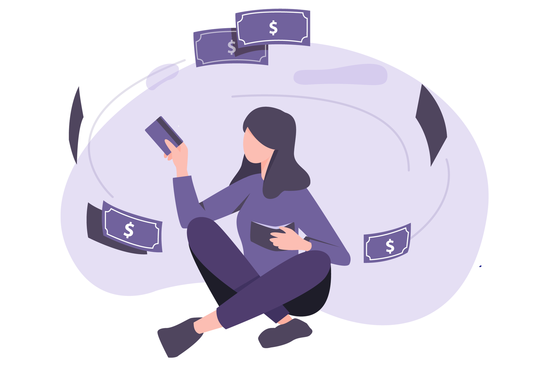 Illustration of woman holding credit card and wallet, enjoying cash flowing freely