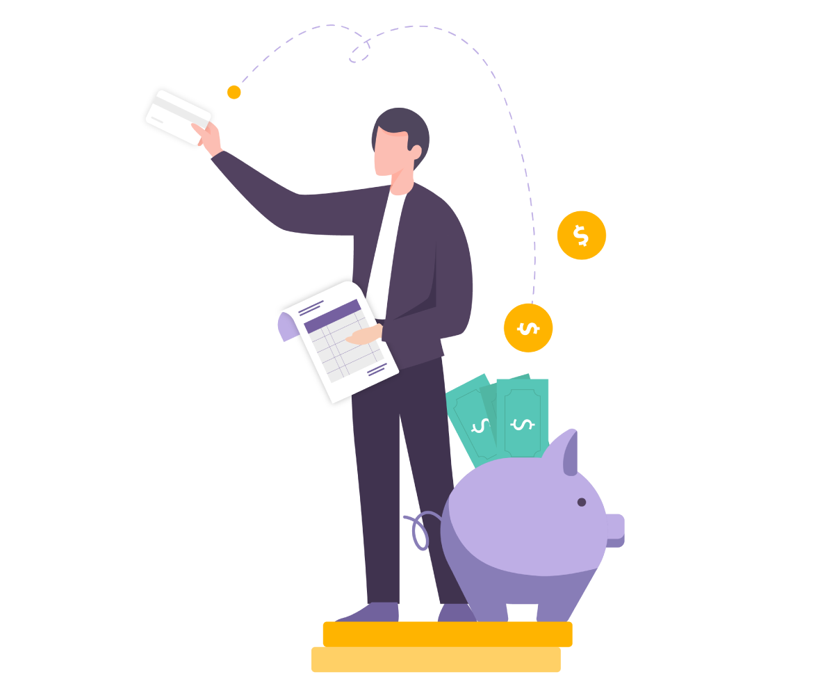 Illustration of man holding invoice, with credit card helping to generate more cash into bank
