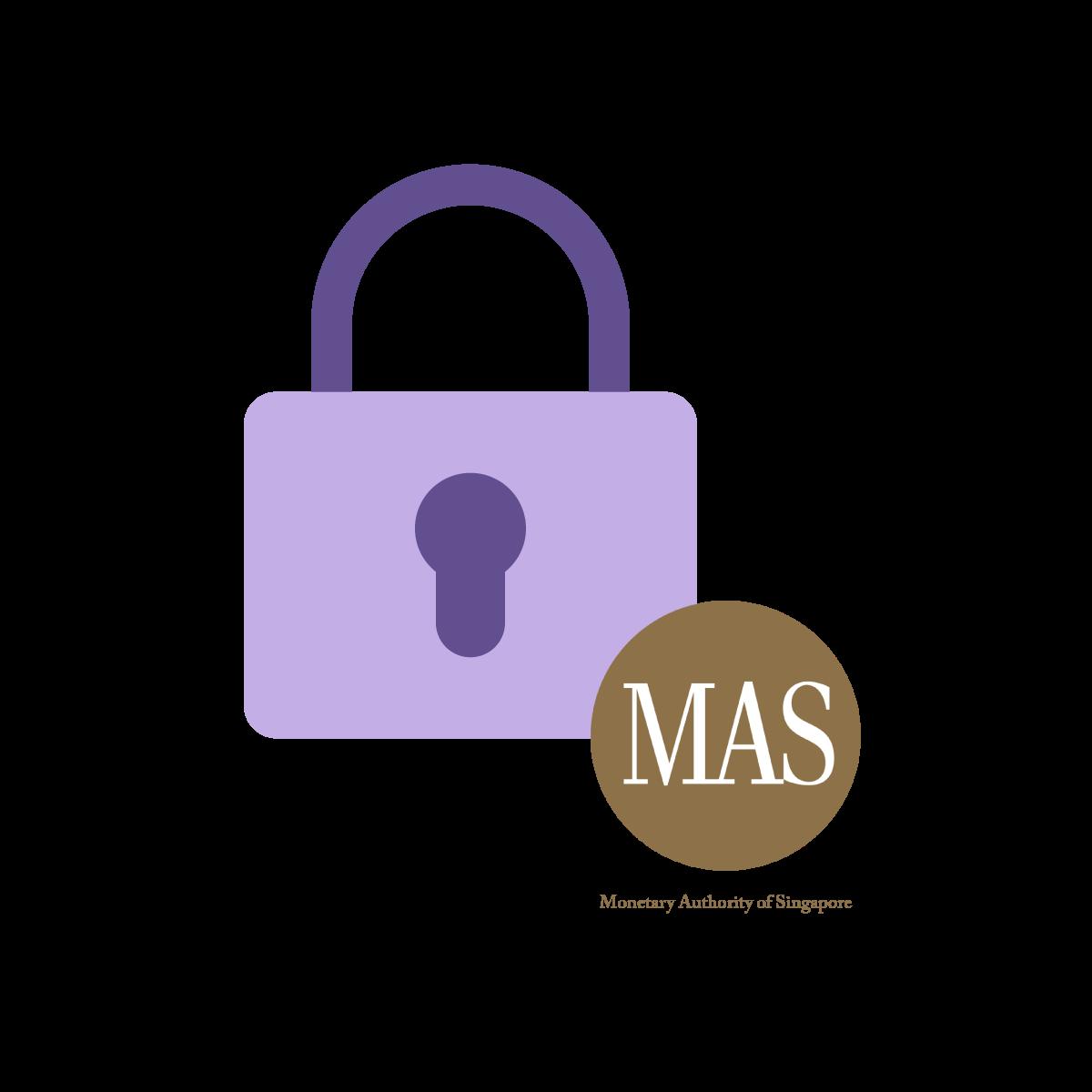 Icon of lock and MAS logo