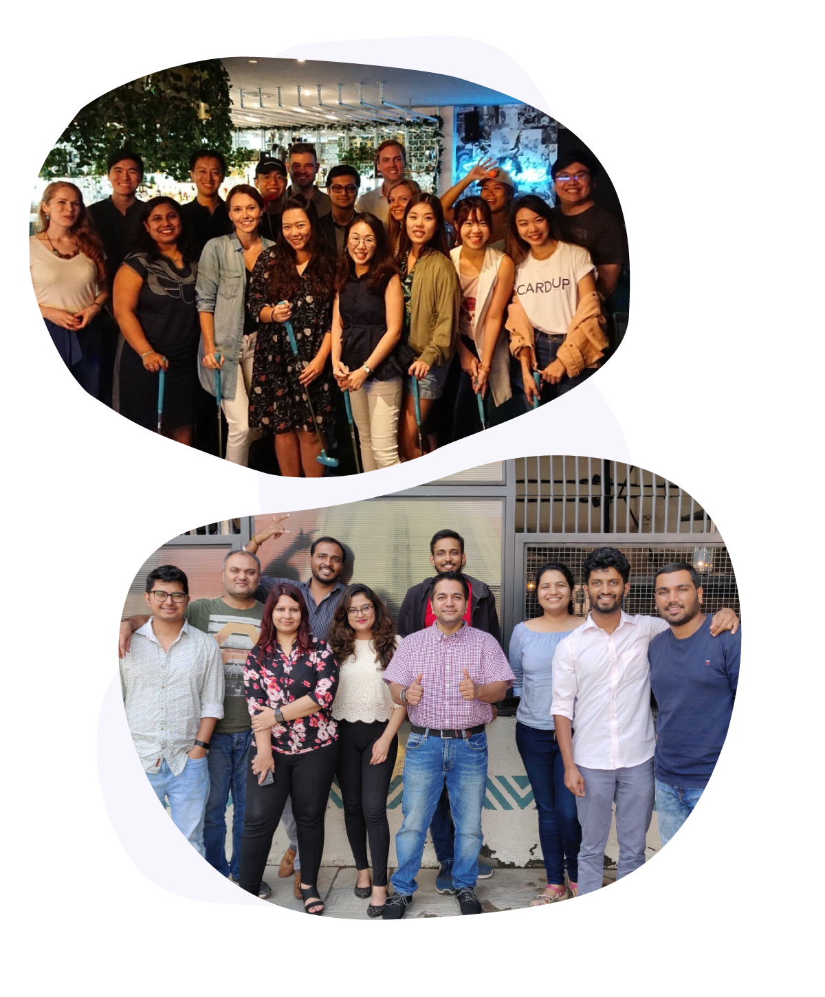 Group photos of the CardUp Team in Singapore and India